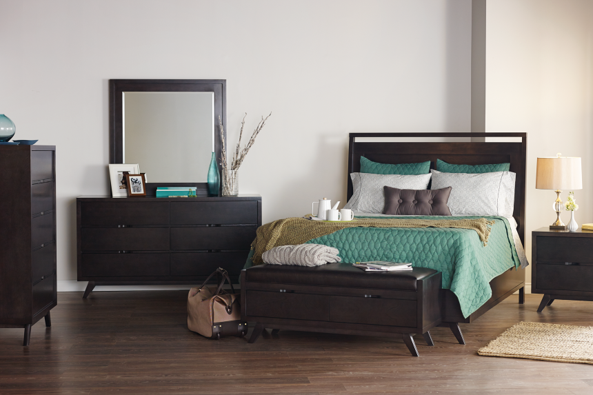 Dark Oak Bedroom Set Clf Buhl Cozy Living Furniture Mississauga